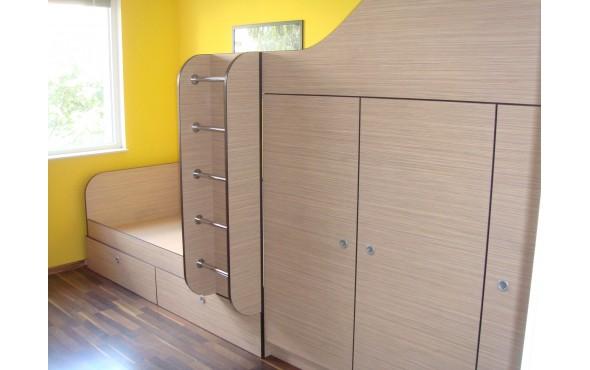 Композиция за детска стая с двуетажно легло и гардероби Лина