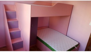 "Двуетажно легло ""Пинки"" с гардероб"
