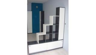 Секционен шкаф за дневна 3 бяло/антрацит
