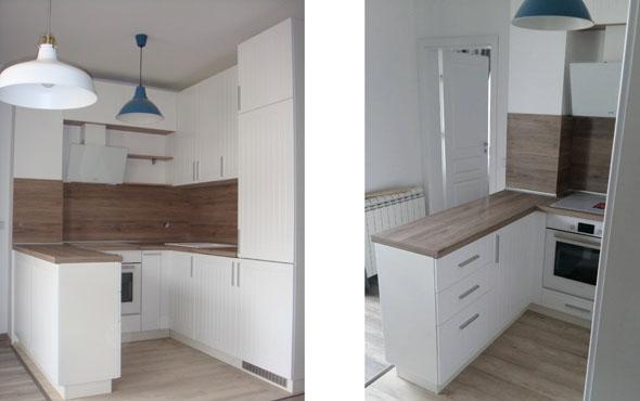 Кухня по индивидуален проект Фара 1 - бял фрезован МДФ